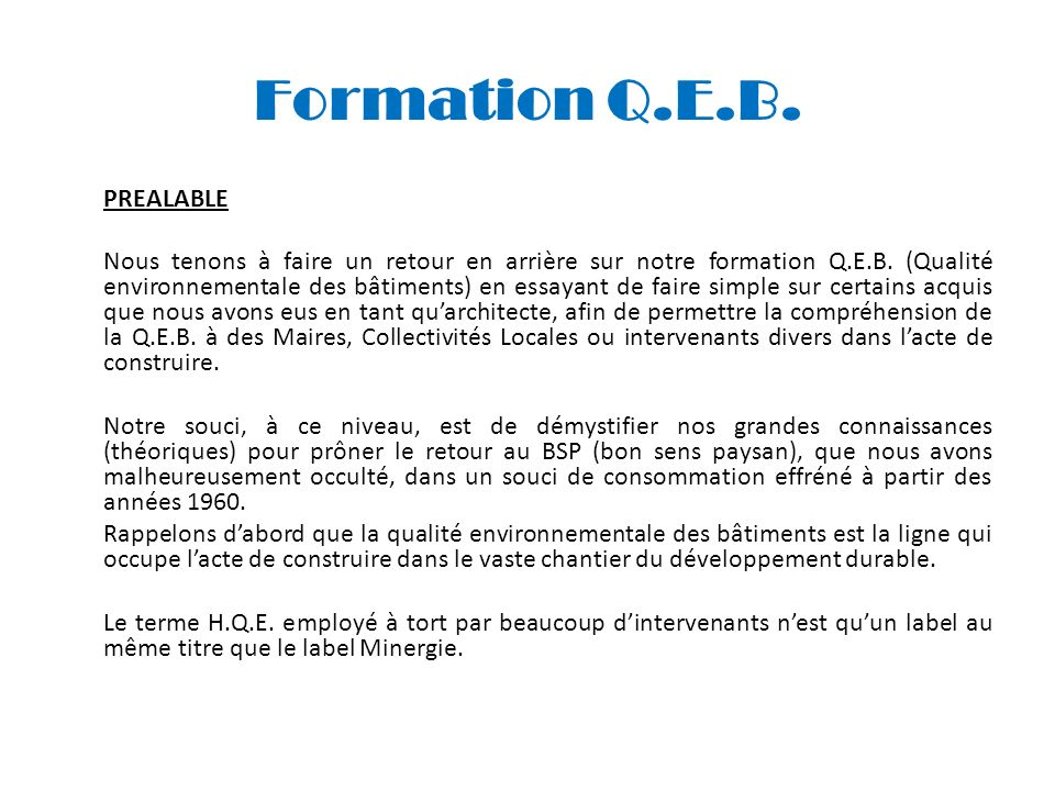 Formation Q.E.B. PREALABLE.
