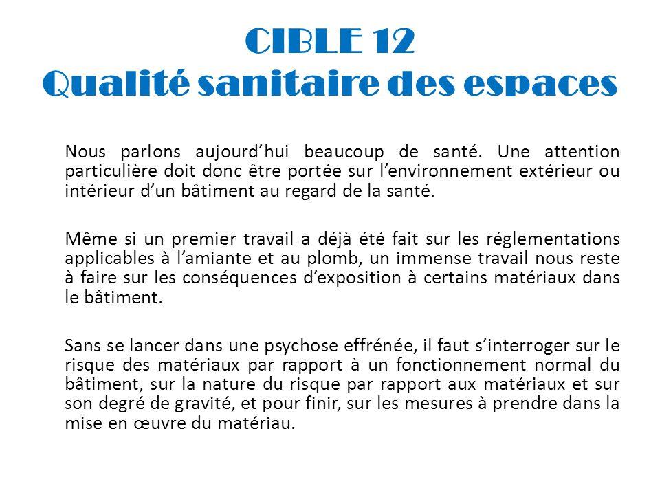 CIBLE 12 Qualité sanitaire des espaces