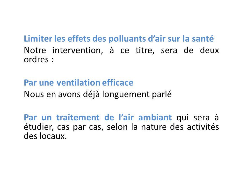 Limiter les effets des polluants d'air sur la santé