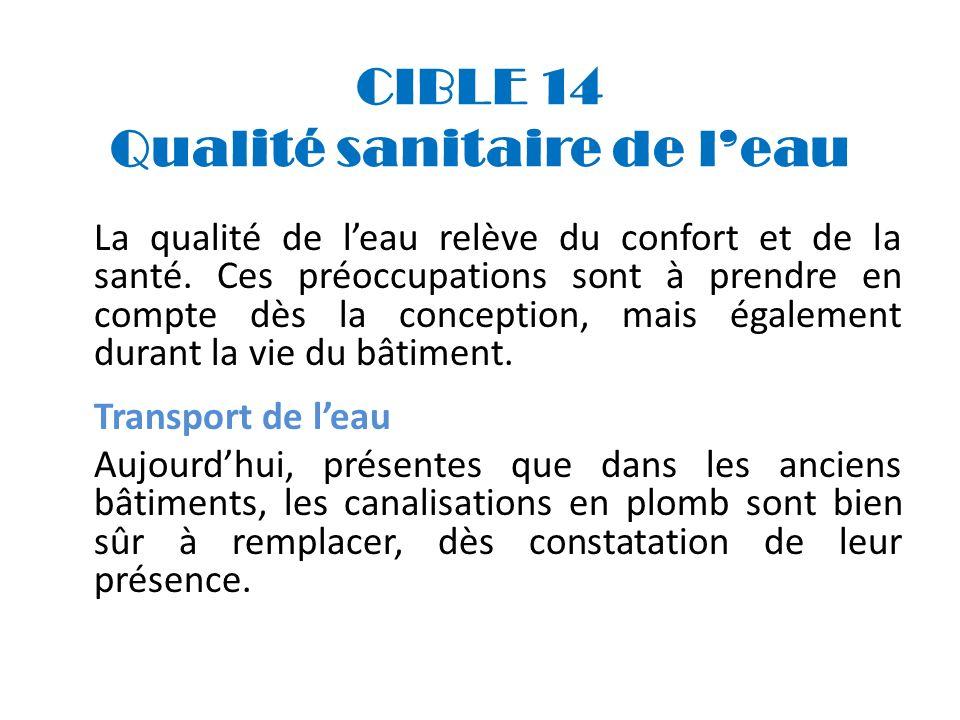 CIBLE 14 Qualité sanitaire de l'eau
