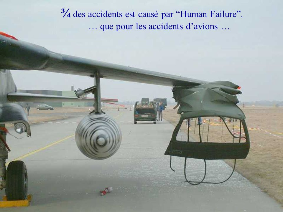 ¾ des accidents est causé par Human Failure .