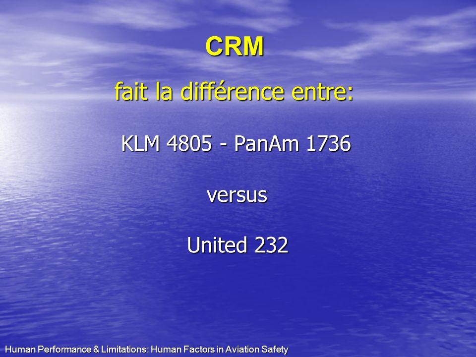 CRM fait la différence entre: KLM 4805 - PanAm 1736 versus United 232