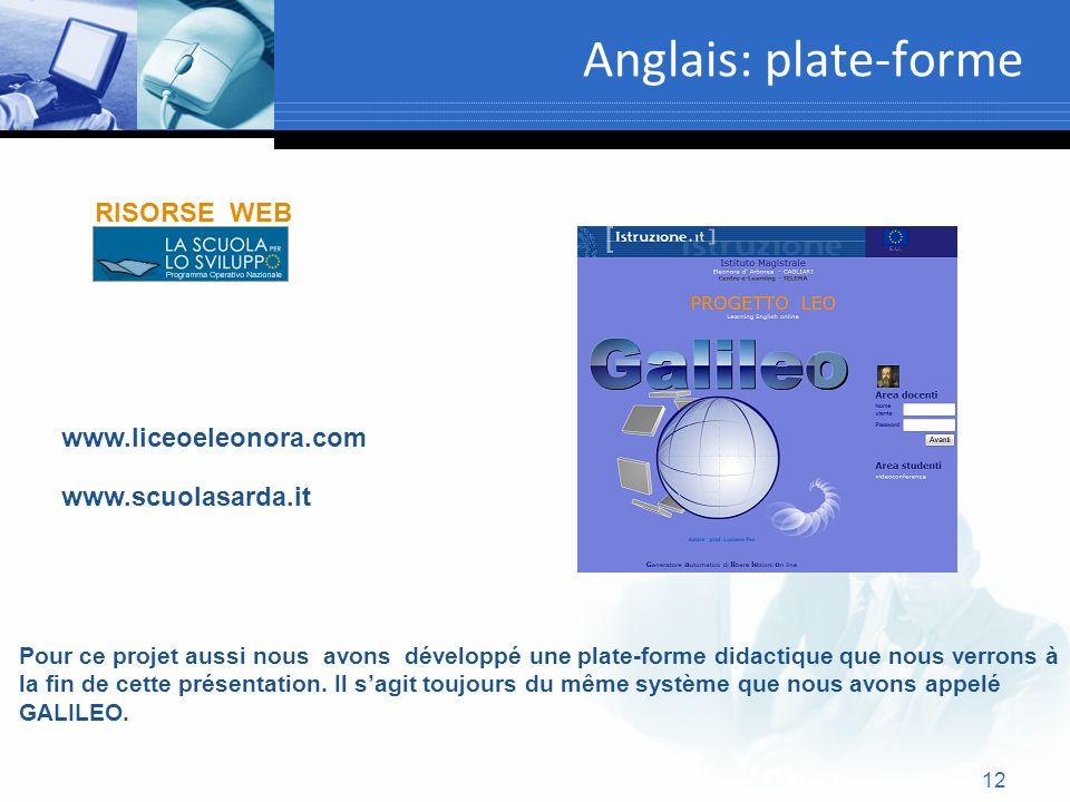 Anglais: plate-forme RISORSE WEB Text www.liceoeleonora.com