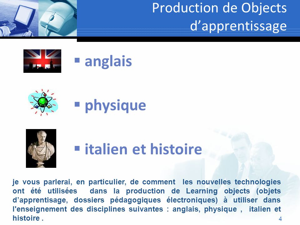 Production de Objects d'apprentissage