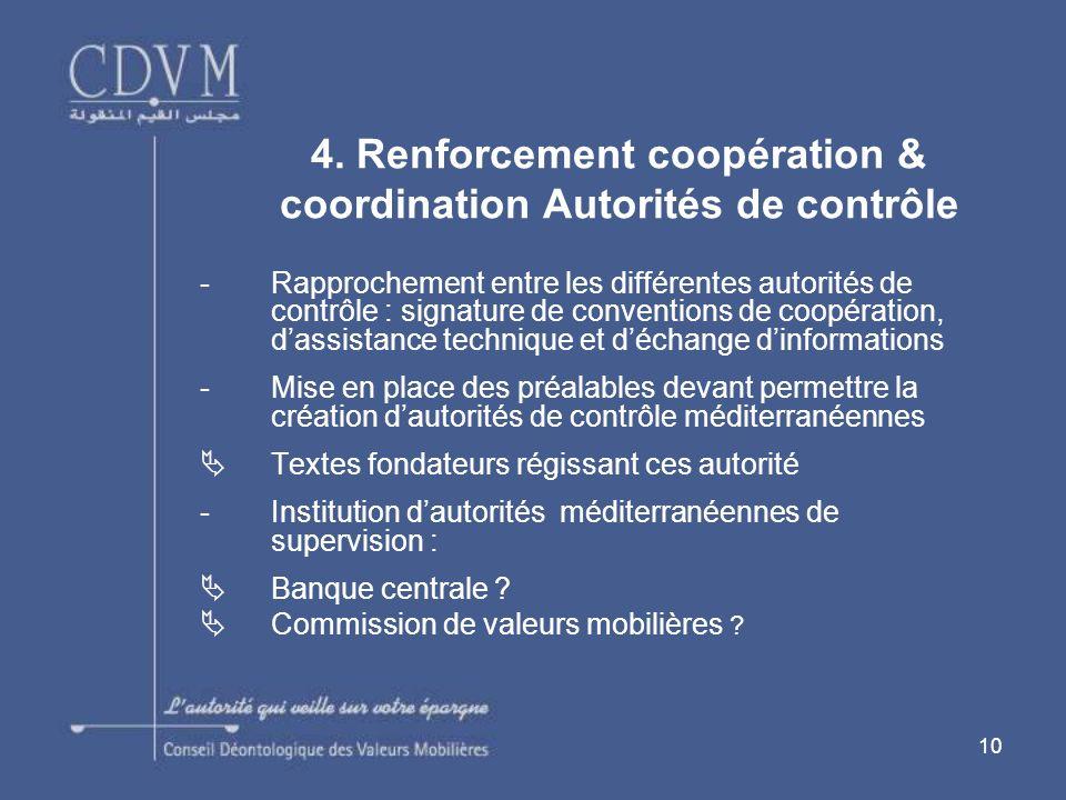 4. Renforcement coopération & coordination Autorités de contrôle