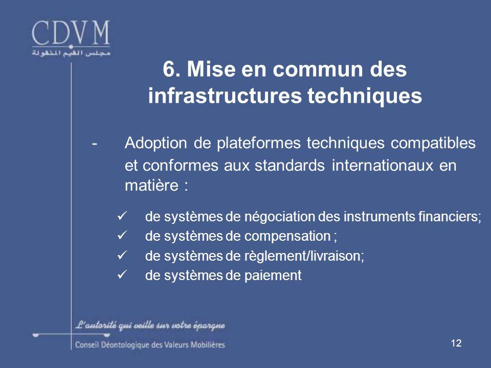 6. Mise en commun des infrastructures techniques