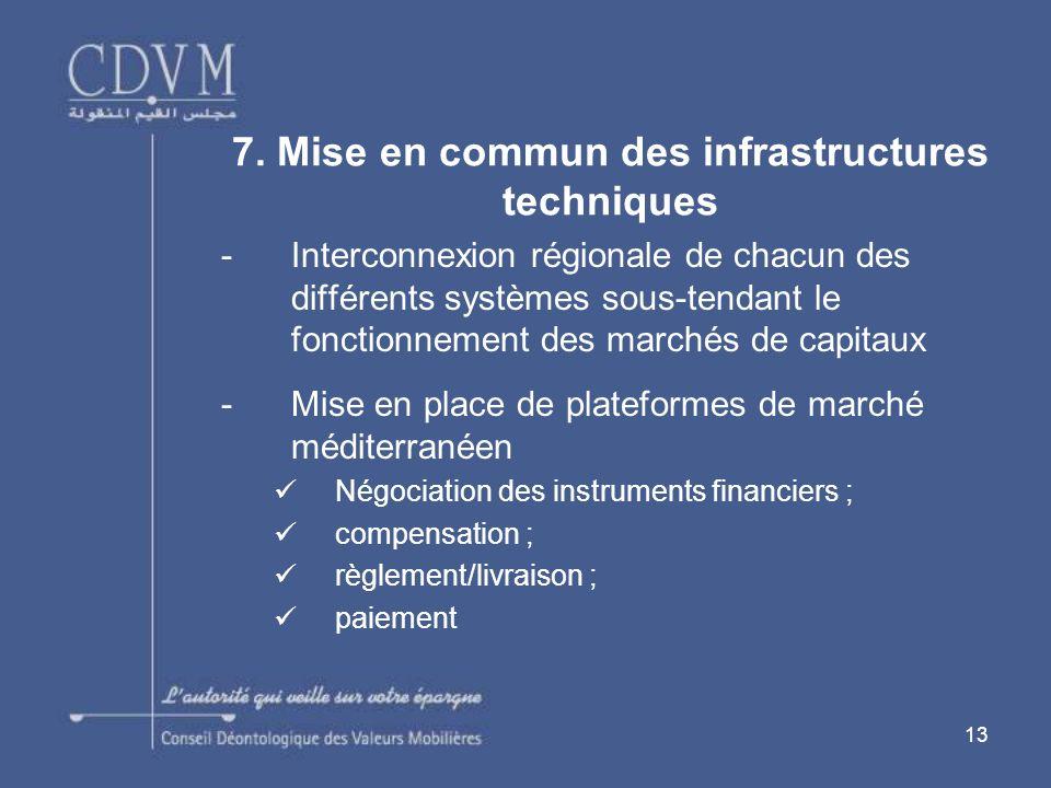 7. Mise en commun des infrastructures techniques