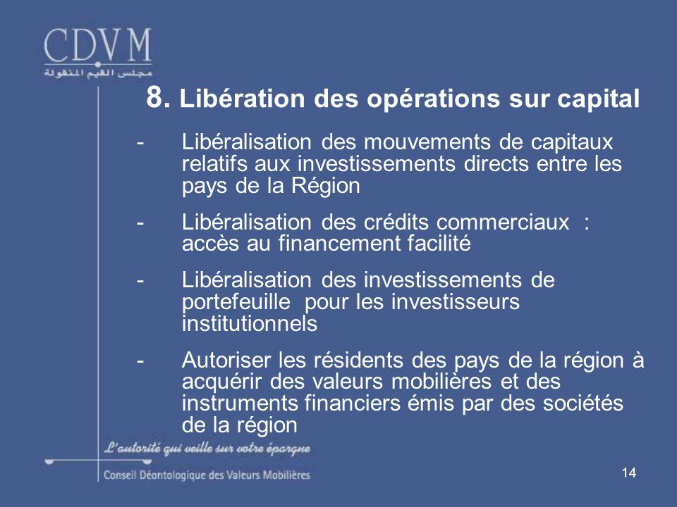 8. Libération des opérations sur capital
