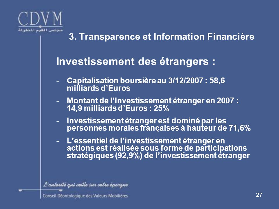 3. Transparence et Information Financière