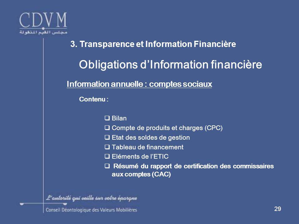 Obligations d'Information financière