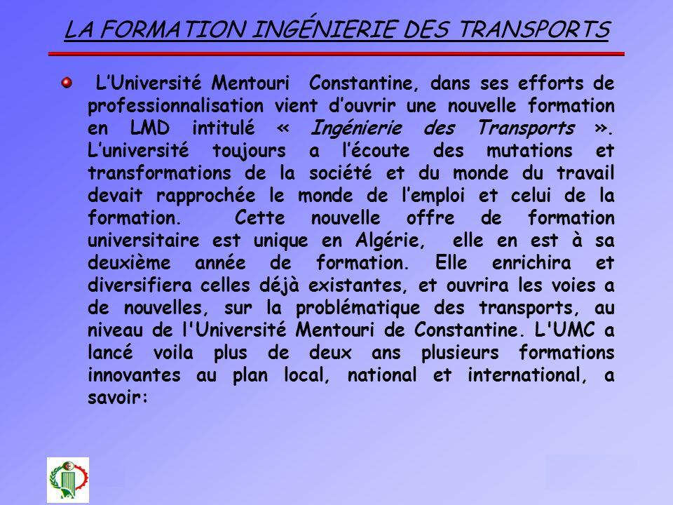 La formation Ingénierie des Transports