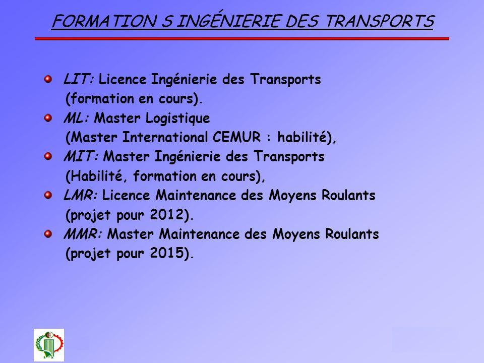 formation S Ingénierie des Transports