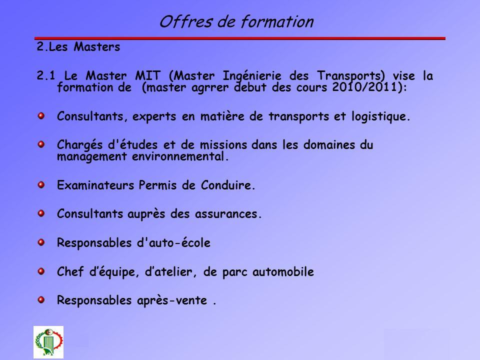Offres de formation 2.Les Masters