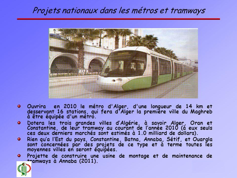 Projets nationaux dans les métros et tramways