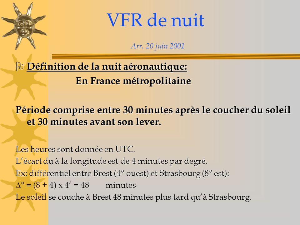 VFR de nuit Arr. 20 juin 2001 Définition de la nuit aéronautique: