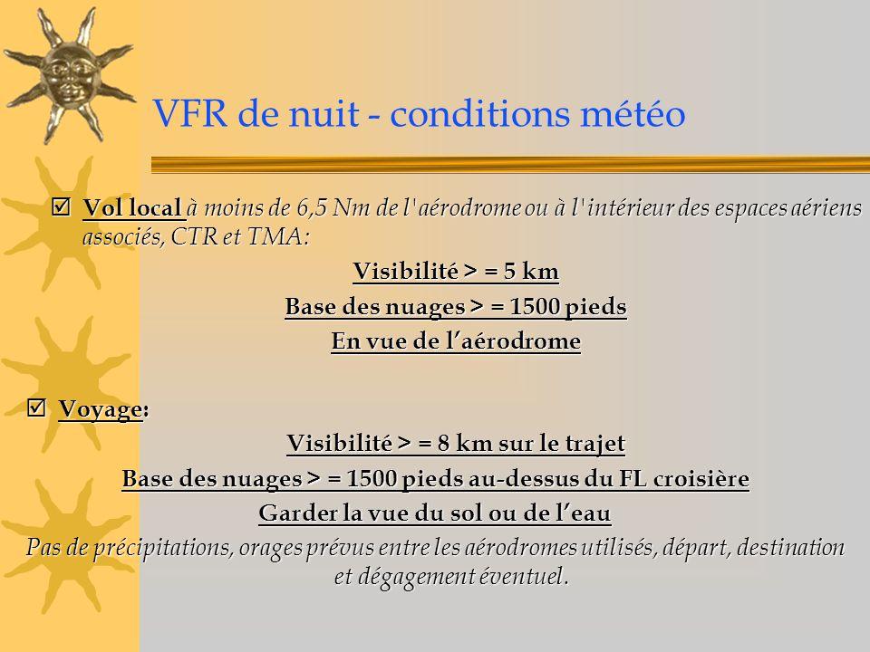 VFR de nuit - conditions météo