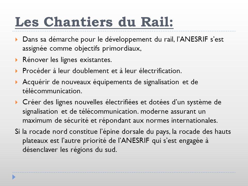 Les Chantiers du Rail: Dans sa démarche pour le développement du rail, l'ANESRIF s'est assignée comme objectifs primordiaux,
