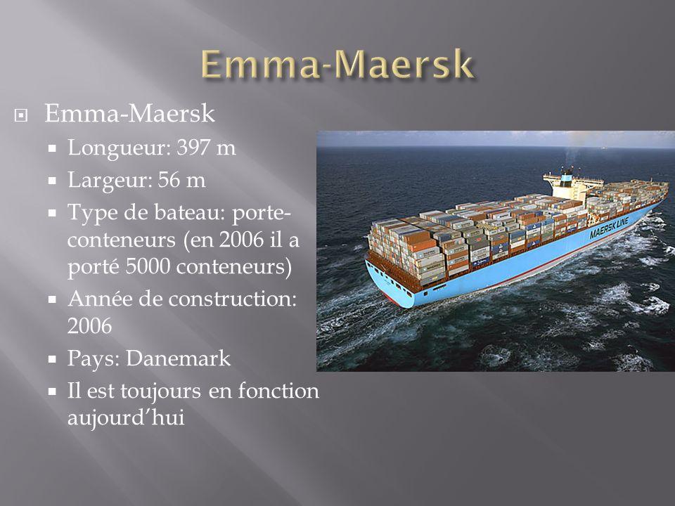 Emma-Maersk Emma-Maersk Longueur: 397 m Largeur: 56 m