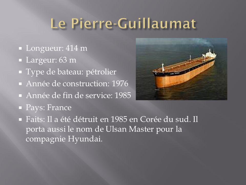 Le Pierre-Guillaumat Longueur: 414 m Largeur: 63 m