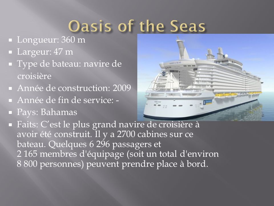 Oasis of the Seas Longueur: 360 m Largeur: 47 m