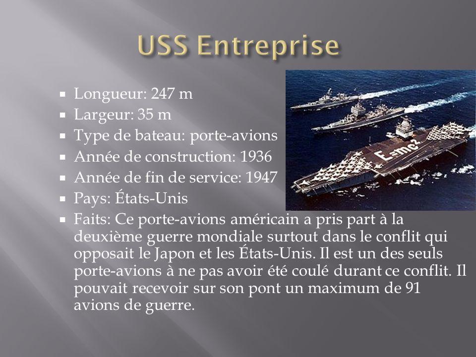 USS Entreprise Longueur: 247 m Largeur: 35 m