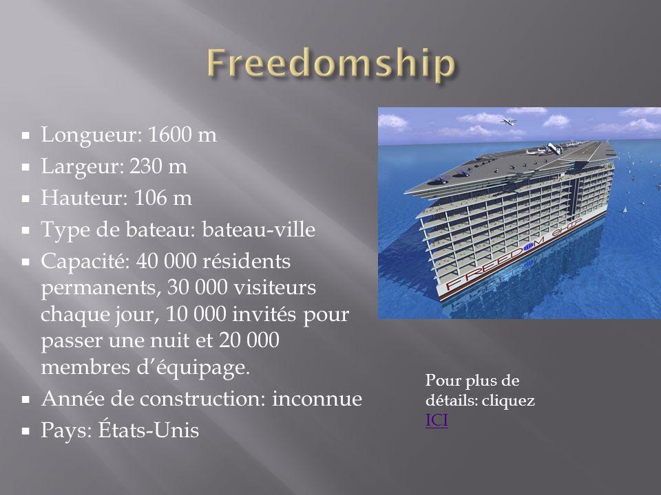 Freedomship Longueur: 1600 m Largeur: 230 m Hauteur: 106 m