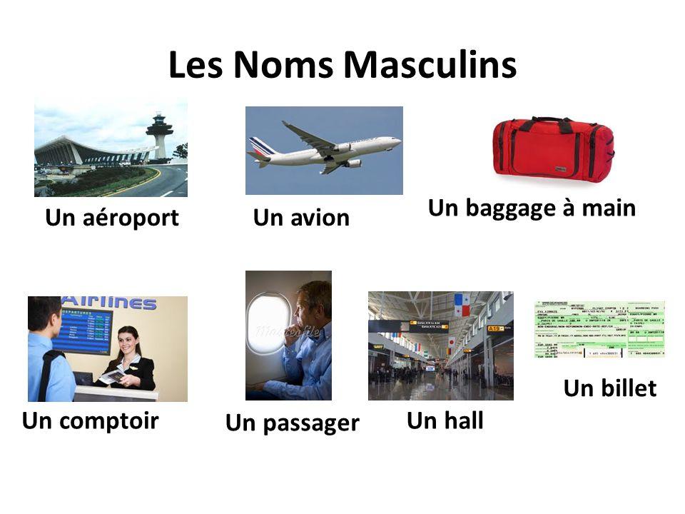 Les Noms Masculins Un baggage à main Un aéroport Un avion Un billet