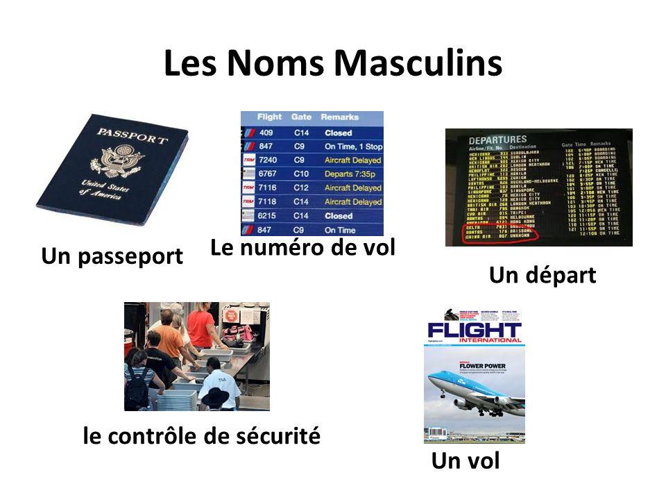 Les Noms Masculins Le numéro de vol Un passeport Un départ