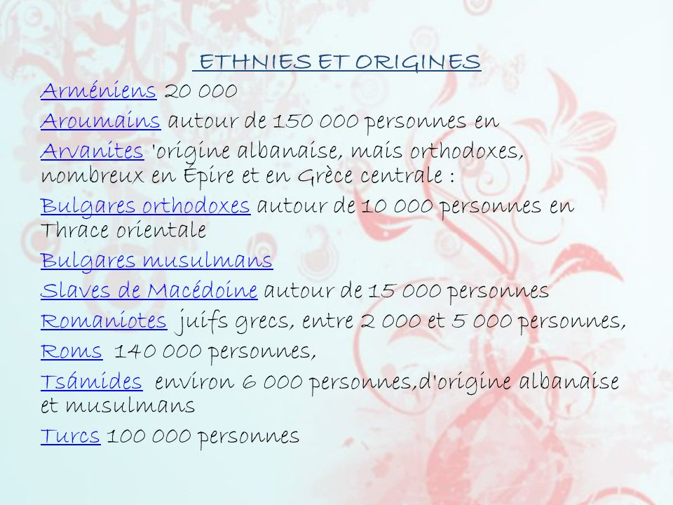 ETHNIES ET ORIGINES