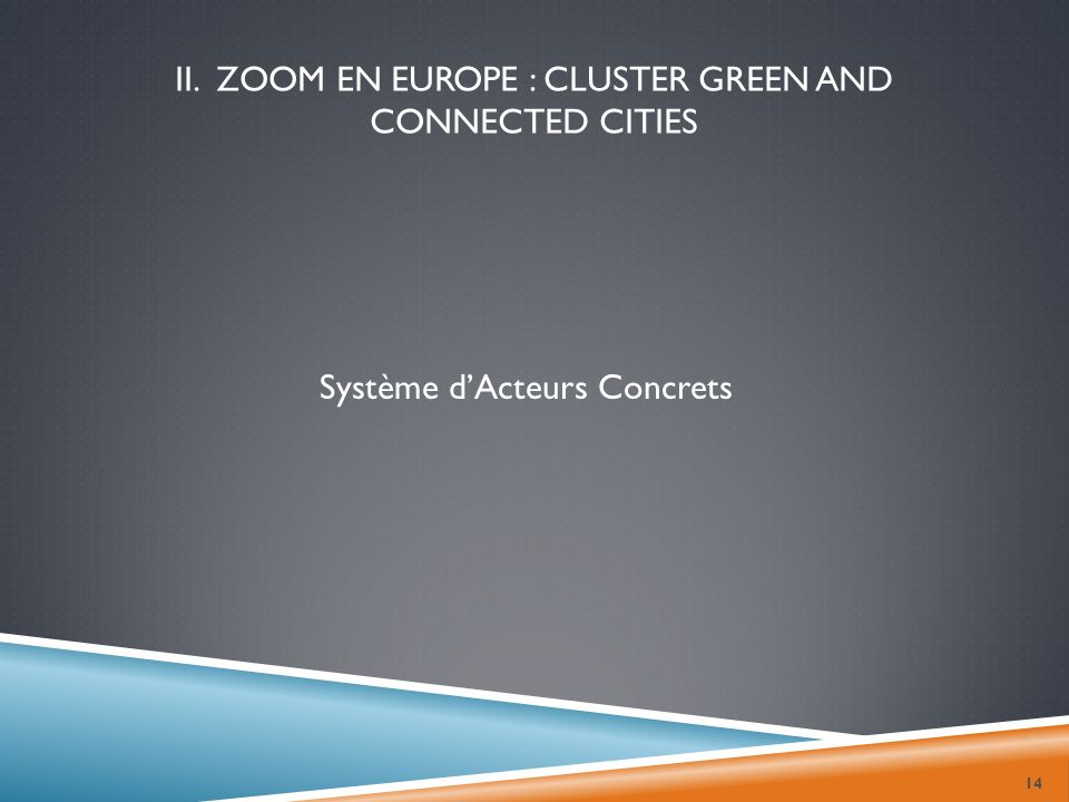 II. Zoom en Europe : Cluster green and connected cities
