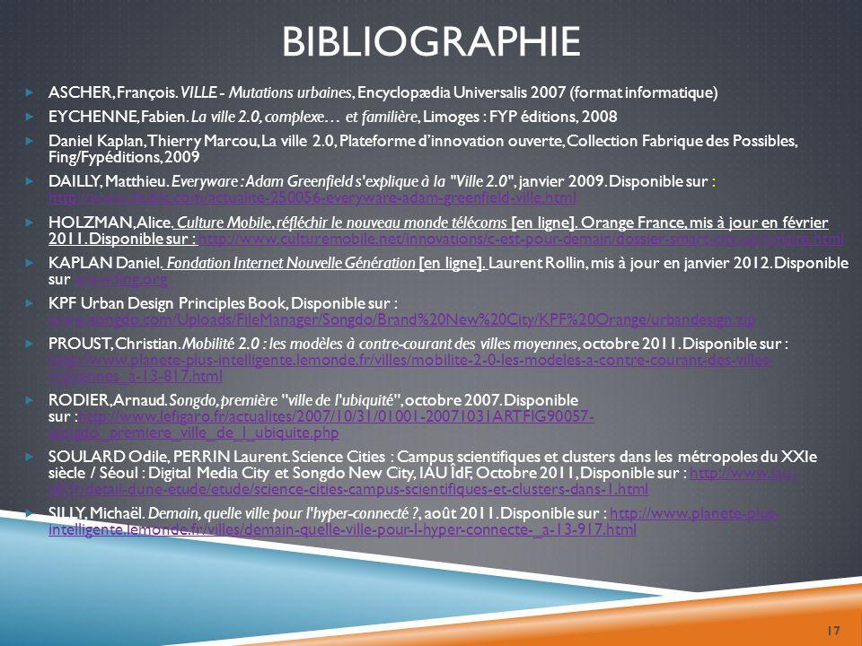 bibliographie ASCHER, François. VILLE - Mutations urbaines, Encyclopædia Universalis 2007 (format informatique)