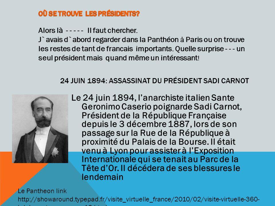 24 juin 1894: Assassinat du Président Sadi Carnot