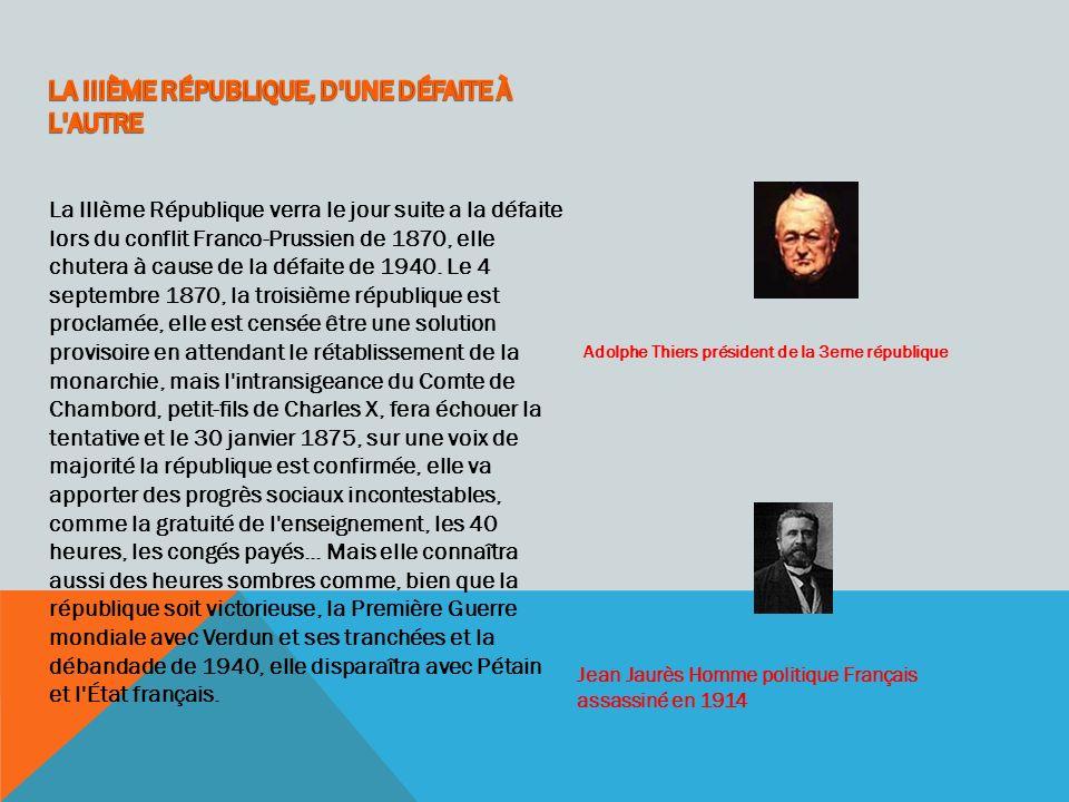 LA IIIÈME RÉPUBLIQUE, D UNE DÉFAITE À L AUTRE