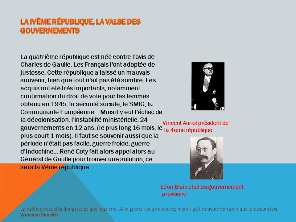 LA IVÈME RÉPUBLIQUE, LA VALSE DES GOUVERNEMENTS