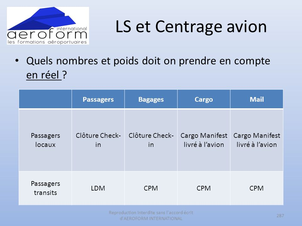LS et Centrage avion Quels nombres et poids doit on prendre en compte en réel Passagers. Bagages.