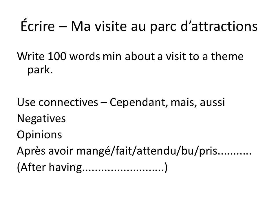 Écrire – Ma visite au parc d'attractions