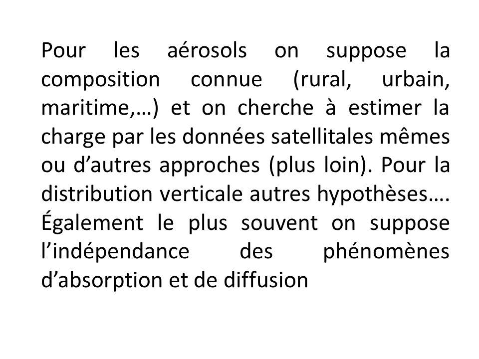 Pour les aérosols on suppose la composition connue (rural, urbain, maritime,…) et on cherche à estimer la charge par les données satellitales mêmes ou d'autres approches (plus loin).