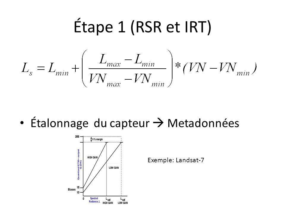 Étape 1 (RSR et IRT) Étalonnage du capteur  Metadonnées