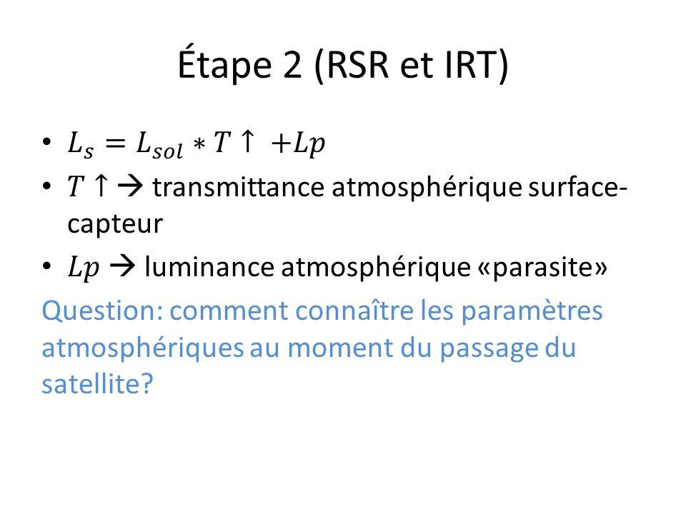 Étape 2 (RSR et IRT) 𝐿 𝑠 = 𝐿 𝑠𝑜𝑙 ∗𝑇↑ +𝐿𝑝