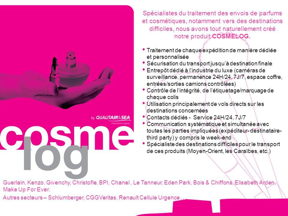 Spécialistes du traitement des envois de parfums et cosmétiques, notamment vers des destinations difficiles, nous avons tout naturellement créé notre produit COSMELOG.