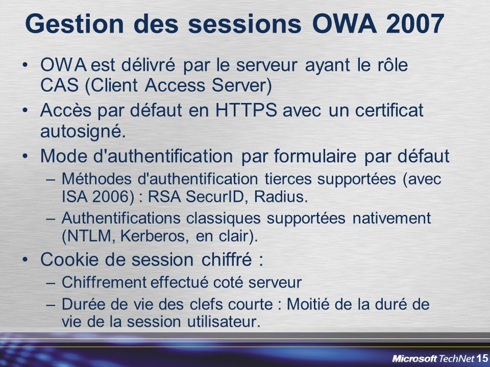 Gestion des sessions OWA 2007
