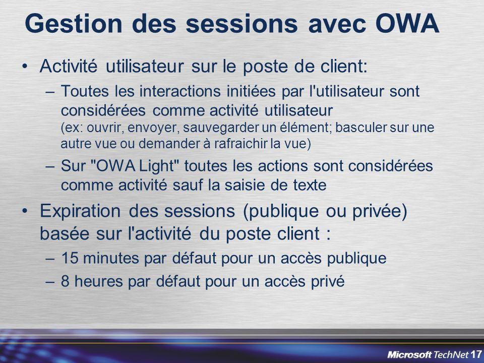 Gestion des sessions avec OWA