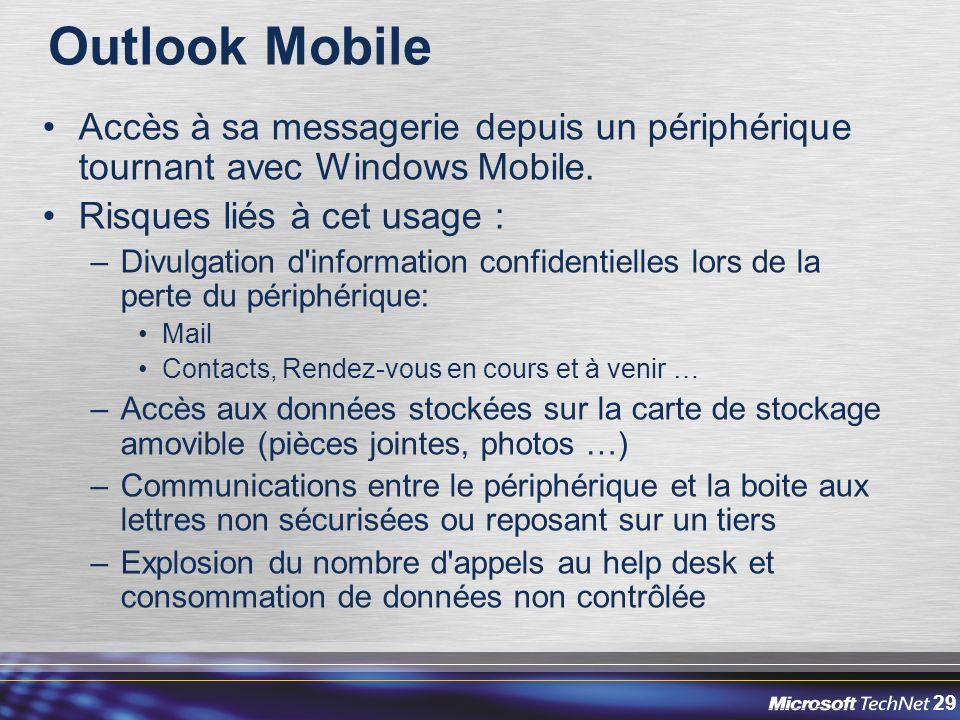 Outlook Mobile Accès à sa messagerie depuis un périphérique tournant avec Windows Mobile. Risques liés à cet usage :