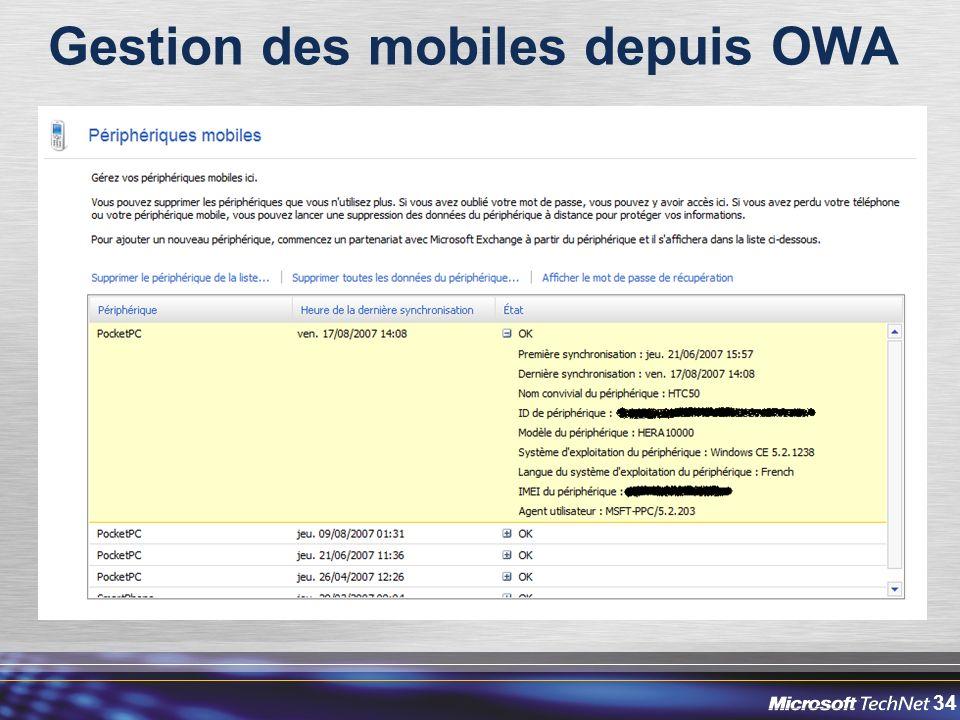 Gestion des mobiles depuis OWA