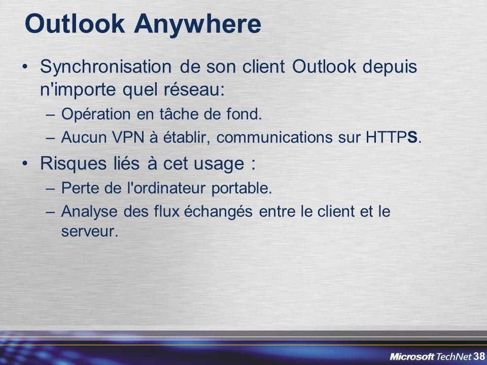 Outlook Anywhere Synchronisation de son client Outlook depuis n importe quel réseau: Opération en tâche de fond.