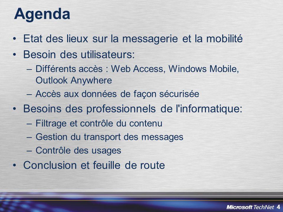 Agenda Etat des lieux sur la messagerie et la mobilité