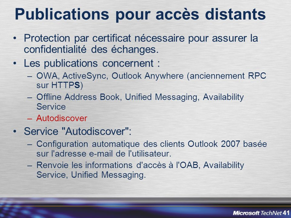 Publications pour accès distants