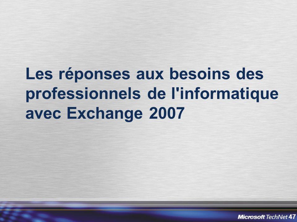 Les réponses aux besoins des professionnels de l informatique avec Exchange 2007