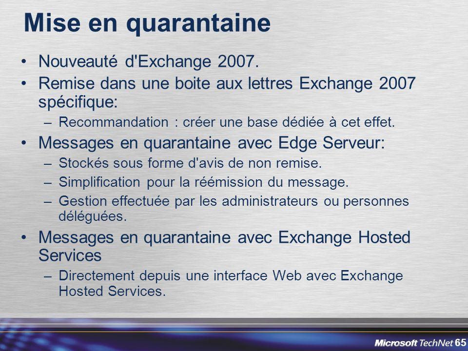 Mise en quarantaine Nouveauté d Exchange 2007.