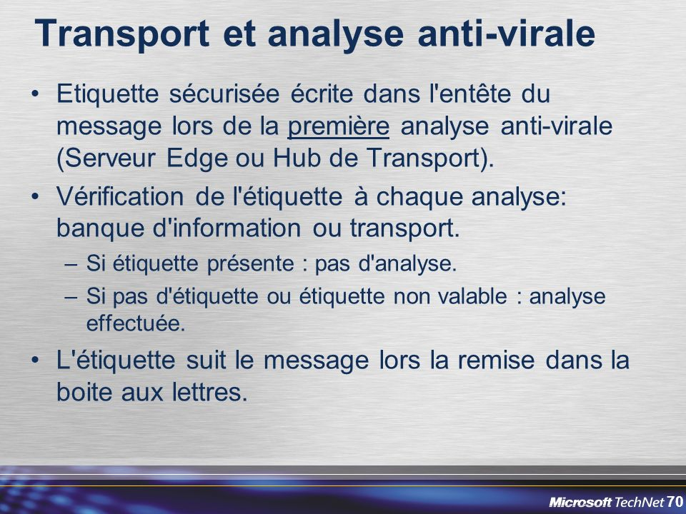 Transport et analyse anti-virale